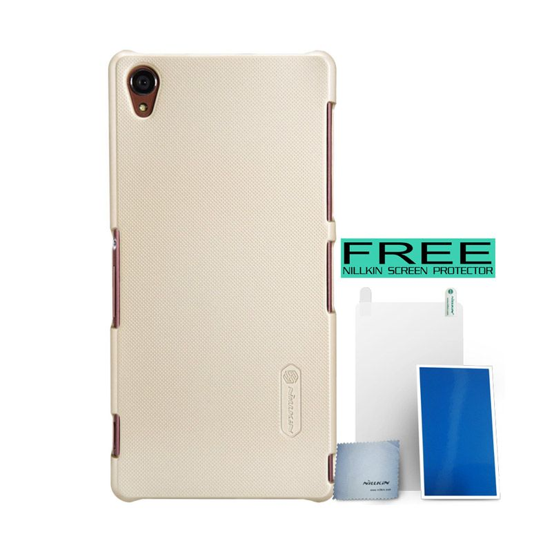 Nillkin Super Frosted Shield Gold Casing For Sony Xperia Z3 + Screen Protector
