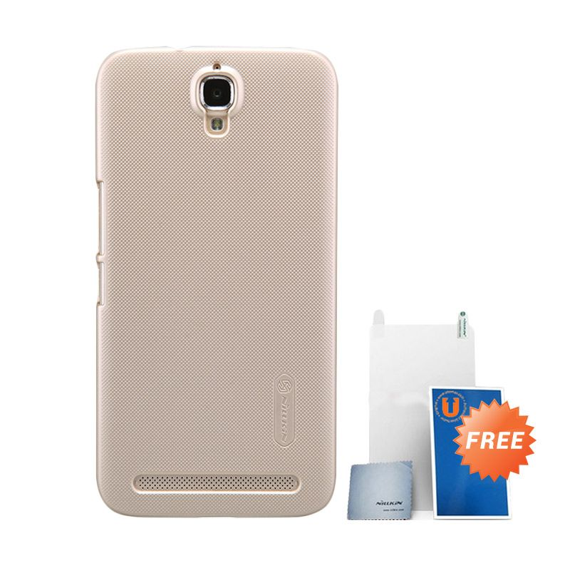 Nillkin Super Frosted Shield Gold Hard Casing for Alcatel Onetouch Flash Plus + Screen Protector