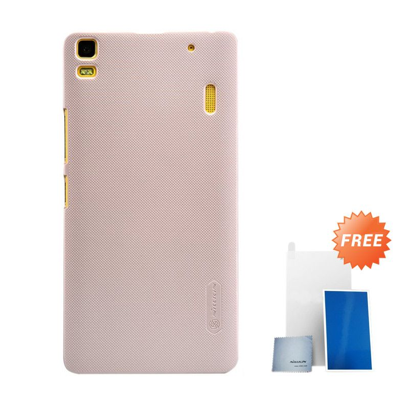 Nillkin Super Frosted Shield Gold Hard Casing for Lenovo K3 Note or Lenovo A7000 + Screen Protector [Original]