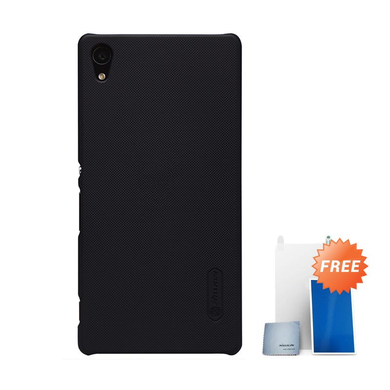 Nillkin Super Frosted Shield Black Hard Case Casing for Sony Xperia Z3 Plus or Z4 + Screen Protector