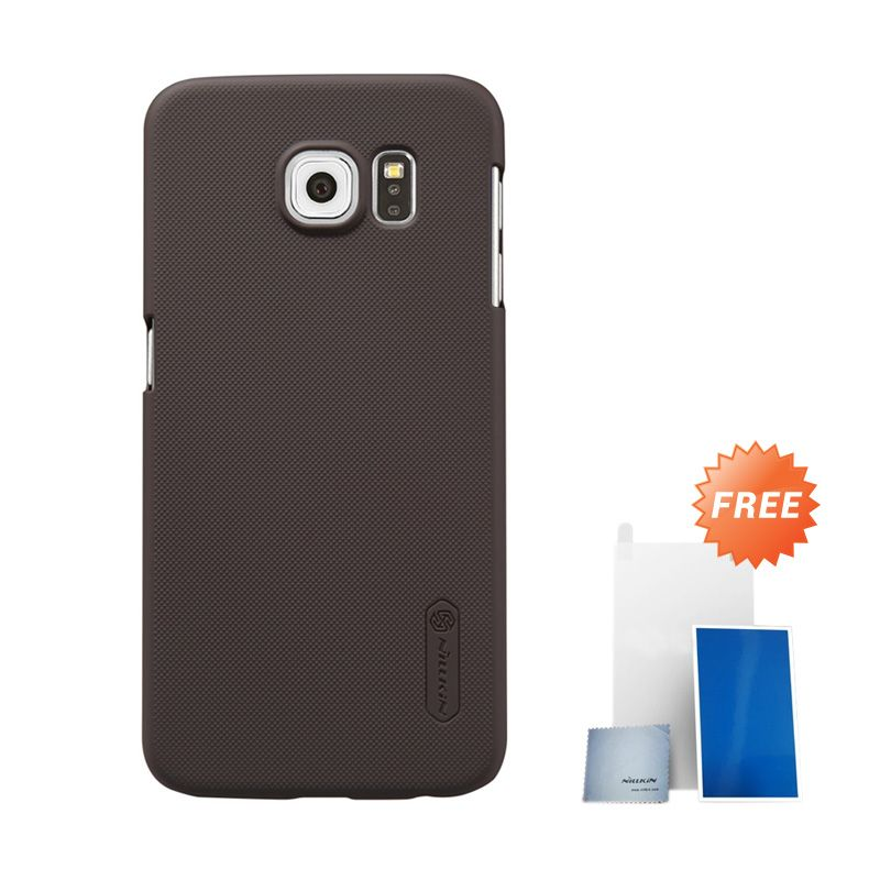 Nillkin Super Frosted Shield Brown Hardcase Casing for Samsung Galaxy S6 G920F + Screen Protector