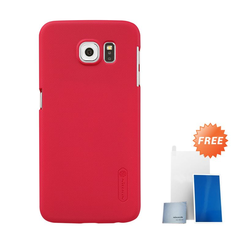 Nillkin Super Frosted Shield Red Hardcase Casing for Samsung Galaxy S6 G920F + Screen Protector