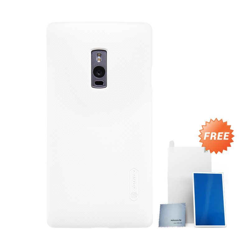 Nillkin Super Frosted Shield White Hardcase Casing for OnePlus 2 + Screen Protector