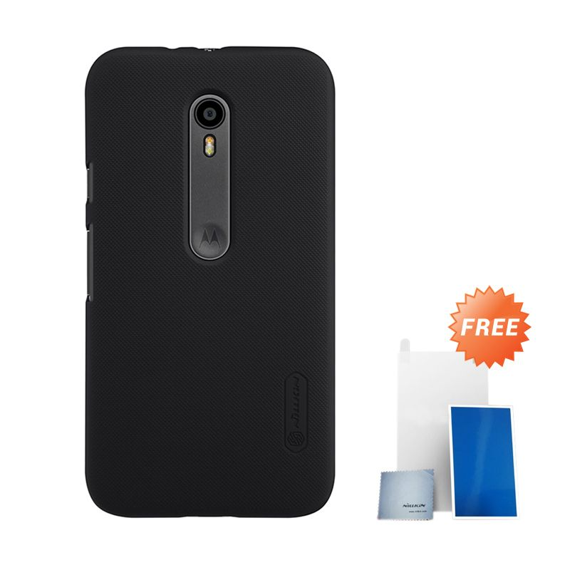Nillkin Super Frosted Shield Black Hardcase Casing for Motorola Moto G3 XT1550 + Screen Protector