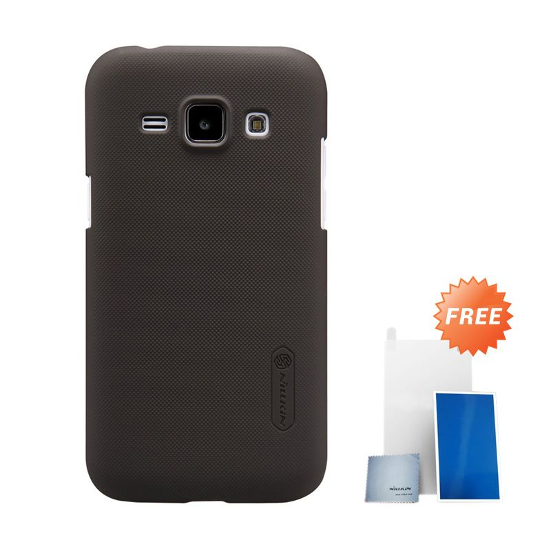 Nillkin Super Frosted Shield Brown Hardcase Casing for Samsung Galaxy J1 + Screen Protector