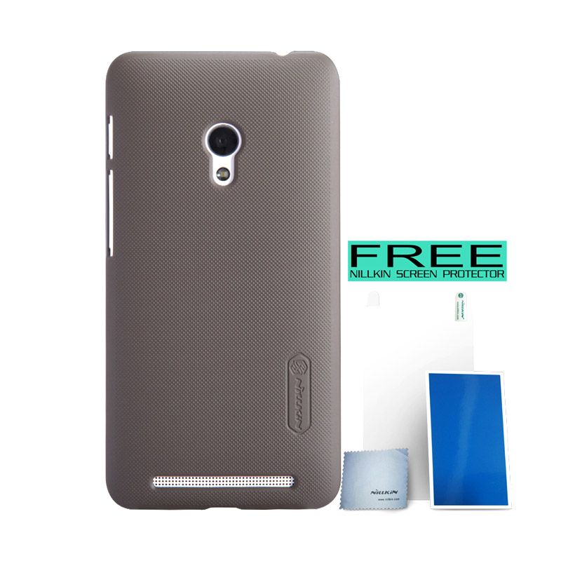 Nillkin Super Frosted Shield Coklat Casing for Asus Zenfone 4S A450CG + Screen Protector