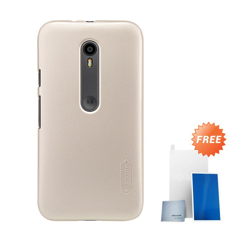 Nillkin Super Frosted Shield Gold Hardcase Casing for Motorola Moto G3 XT1550 + Screen Protector