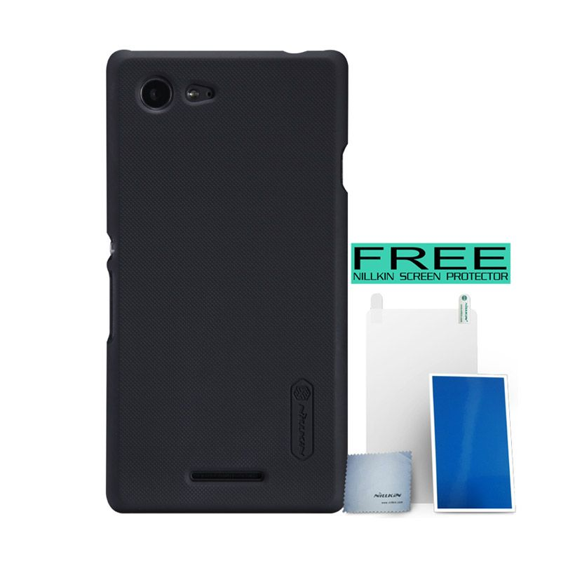 Nillkin Super Frosted Shield Hitam Casing for Sony Xperia E3 + Screen Protector