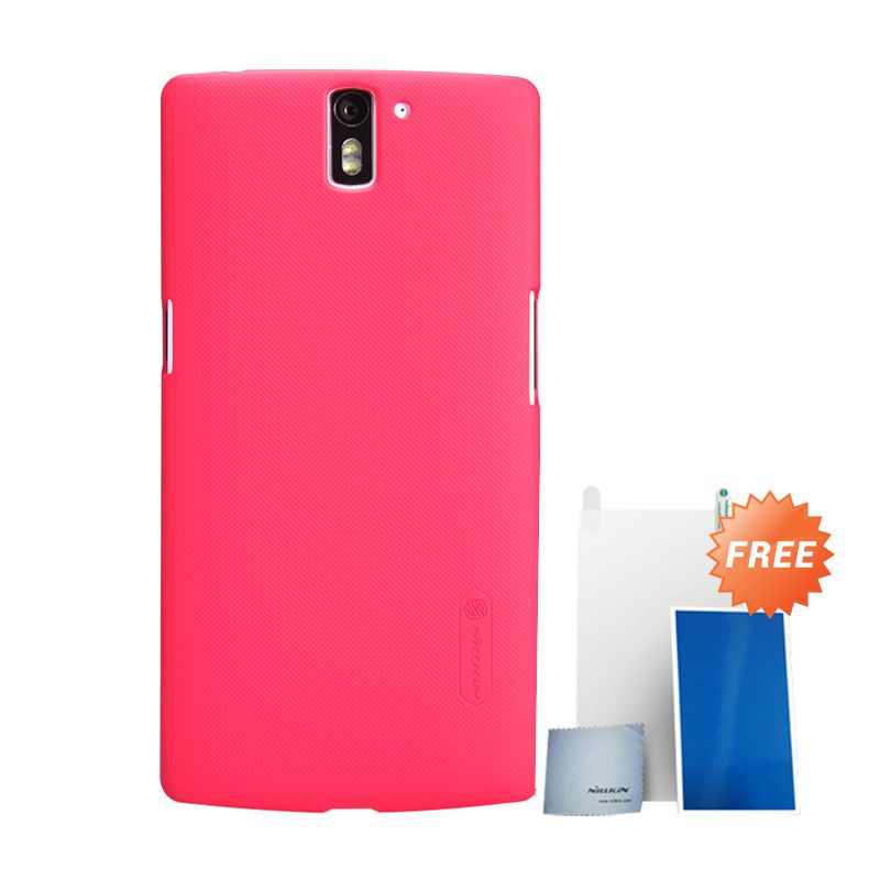 Nillkin Super Frosted Shield Merah Casing for OnePlus One + Screen Protector