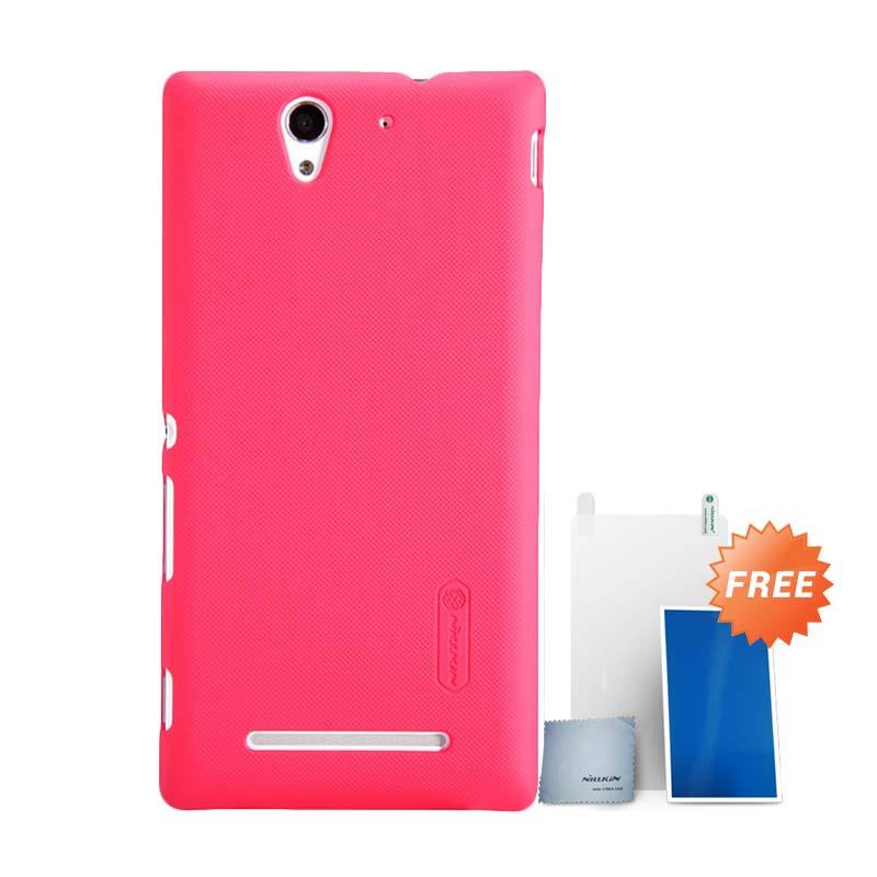 Nillkin Super Frosted Shield Merah Casing for Sony Xperia C3 + Screen Protector