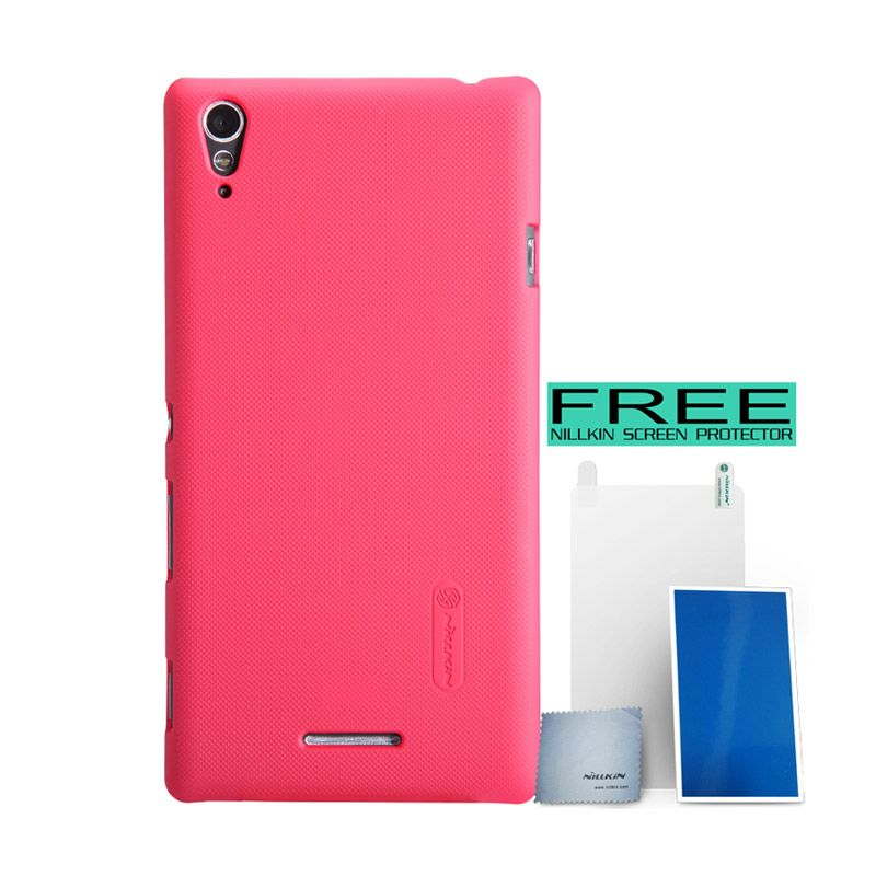 Nillkin Super Frosted Shield Merah Casing For Sony Xperia T3 + Screen Protector
