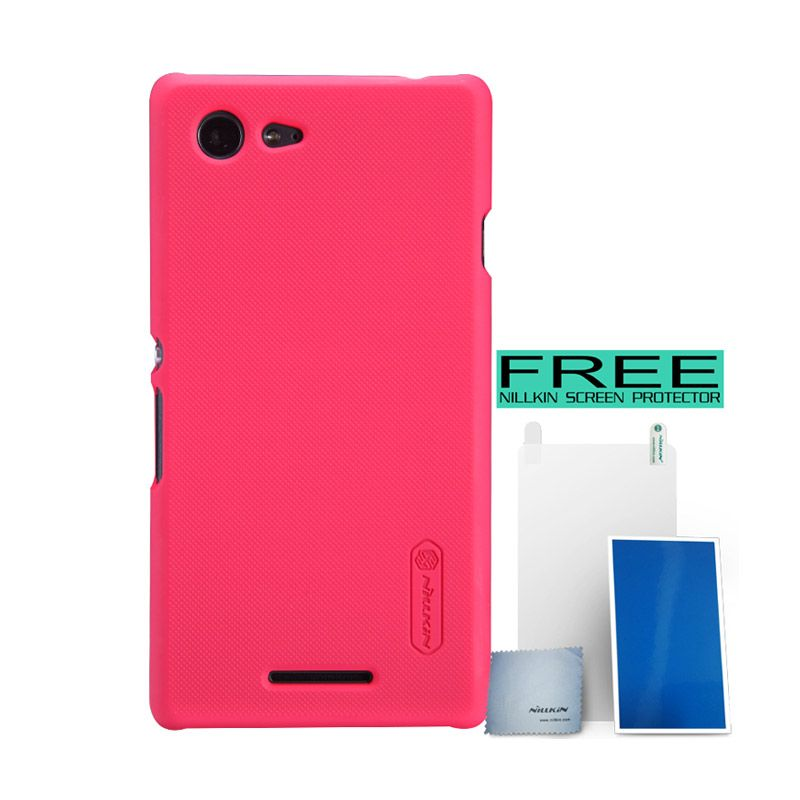 Nillkin Super Frosted Shield Merah Casing for Sony Xperia E3 + Screen Protector