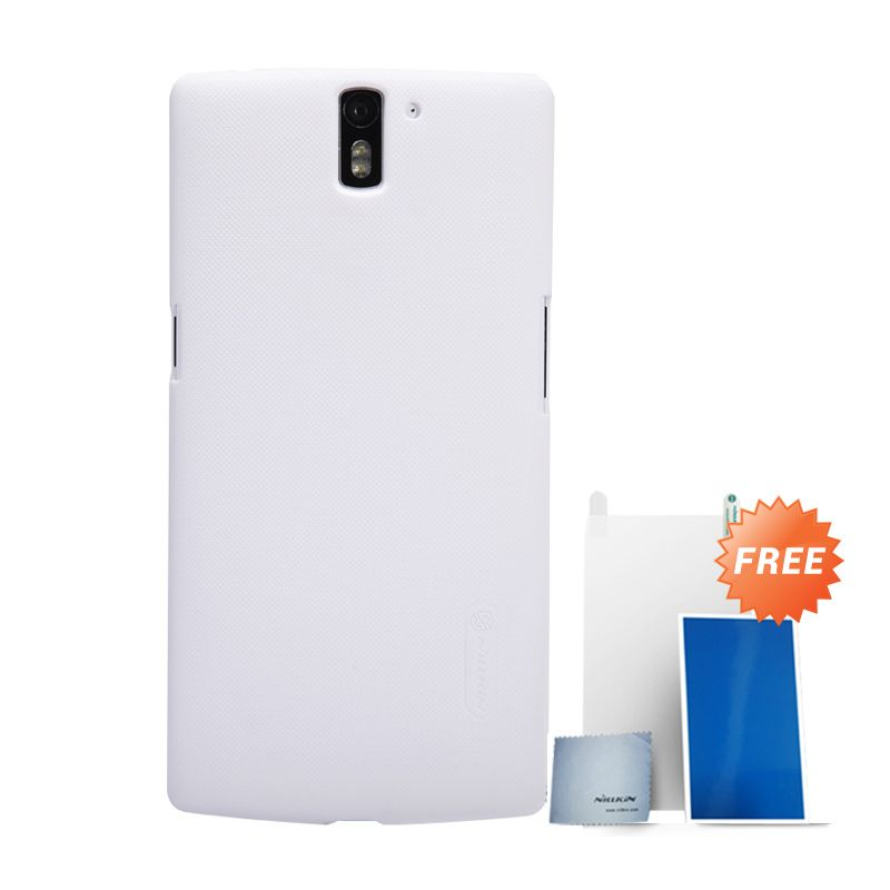 Nillkin Super Frosted Shield Putih Casing for OnePlus One + Screen Protector