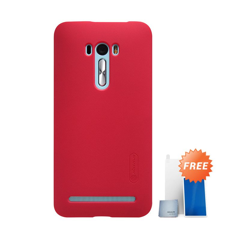 Nillkin Super Frosted Shield Red Casing for Asus Zenfone Selfie ZD551KL + Screen Protector