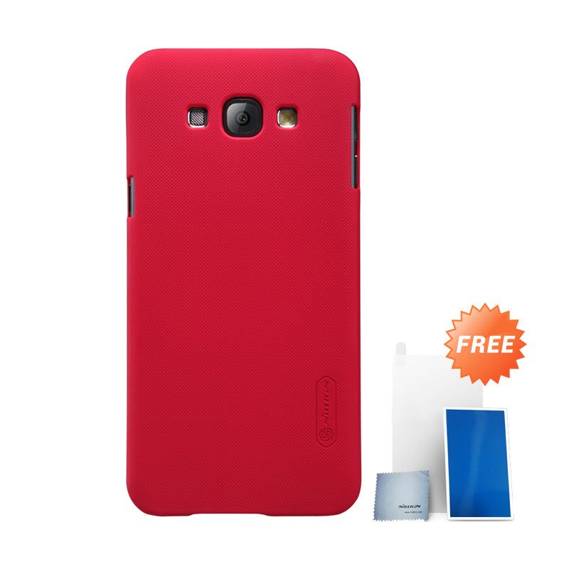 Nillkin Super Frosted Shield Red Casing for Samsung Galaxy A8 + Screen Protector