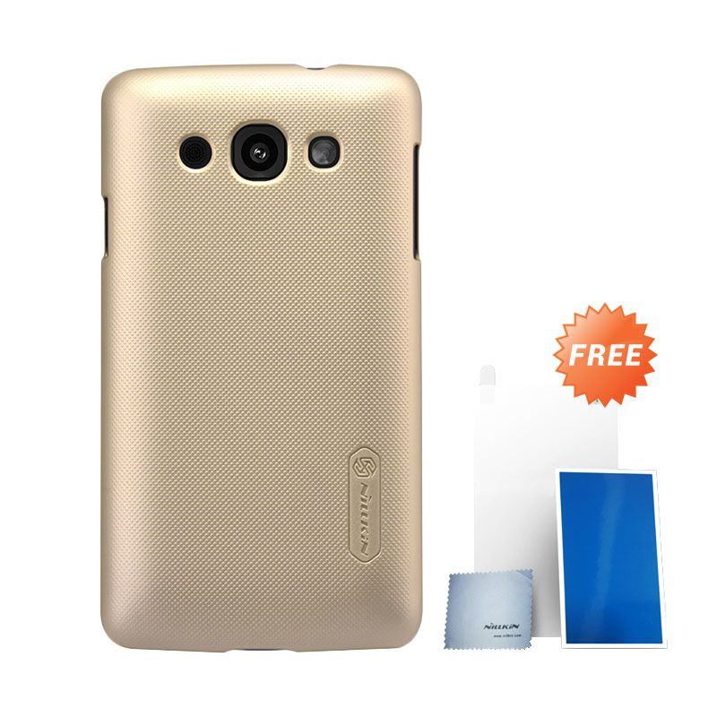 Nillkin Super Frosted Shield Gold Hard Case Casing for LG L60 + Screen Protector