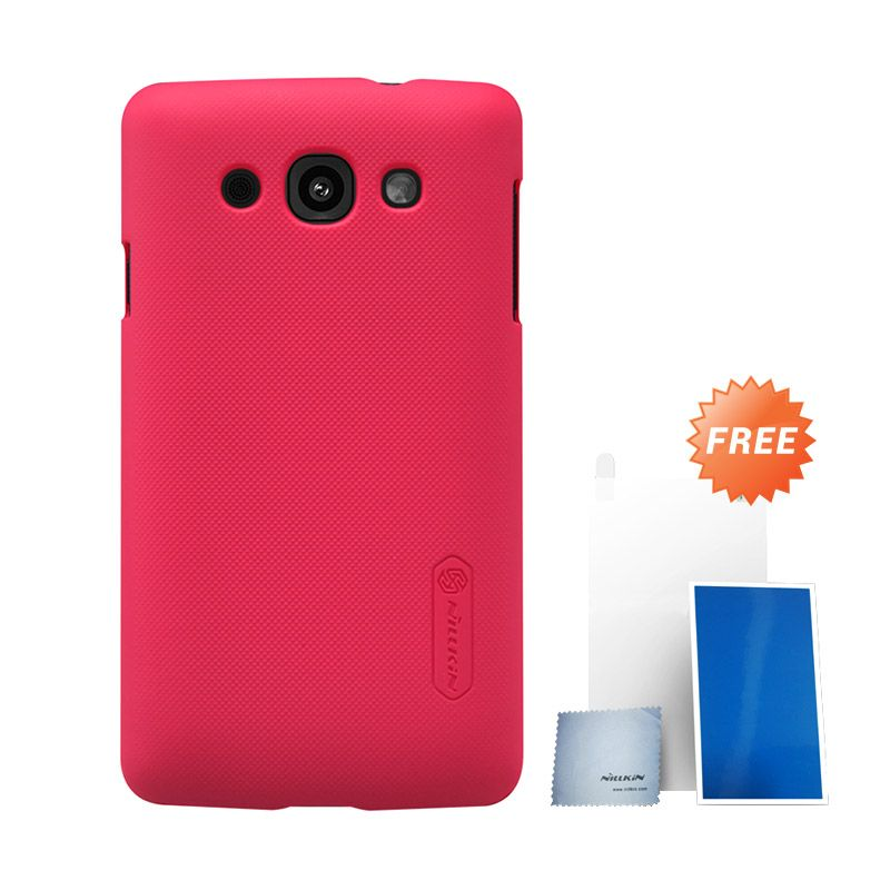 Nillkin Super Frosted Shield Red Hard Case Casing for LG L60 + Screen Protector