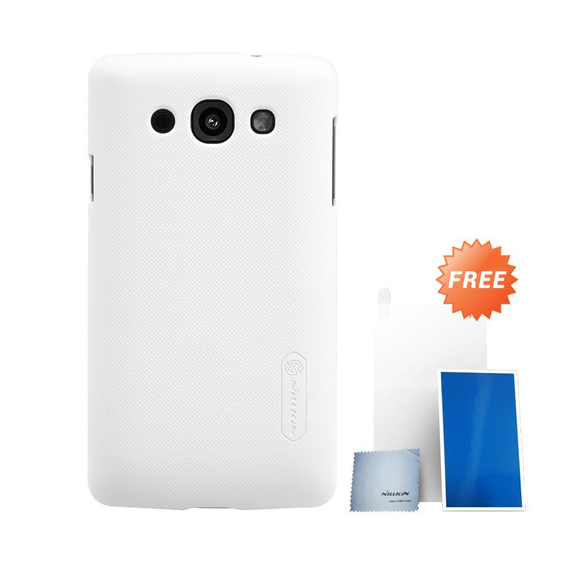 Nillkin Super Frosted Shield White Hard Case Casing for LG L60 + Screen Protector