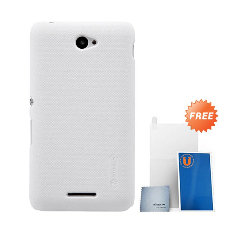 Nillkin Super Frosted Shield White Hard Casing for Sony Xperia E4 + Screen Protector