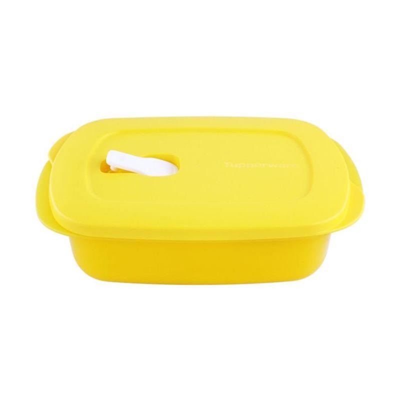 Tupperware Crystal Wave Rectangular Kuning Kotak Makan