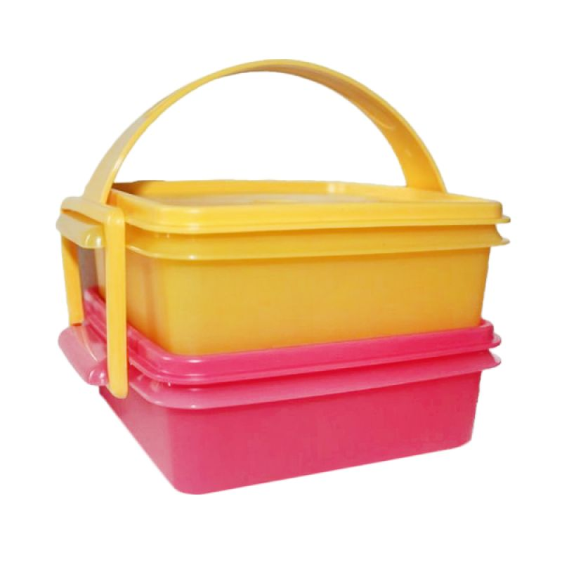 Tupperware Small Carry All Merah Kuning Set Kotak Makan