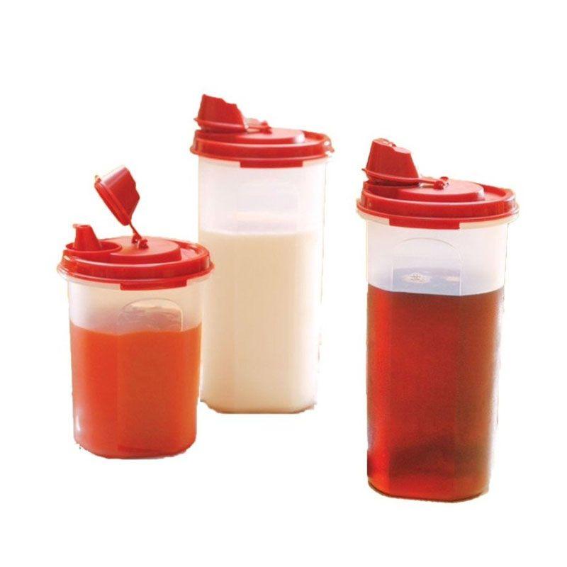 Tupperware Stor N Pour Merah Botol Minum [3 Pcs]