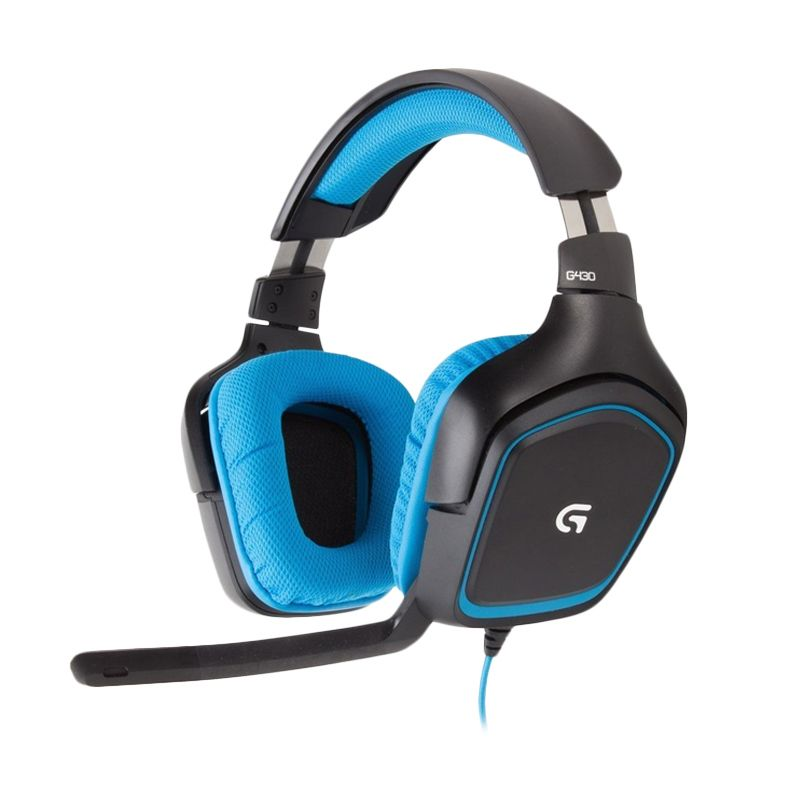 Logitech G430 Surround Sound With Mic Hitam Biru Gaming Headset