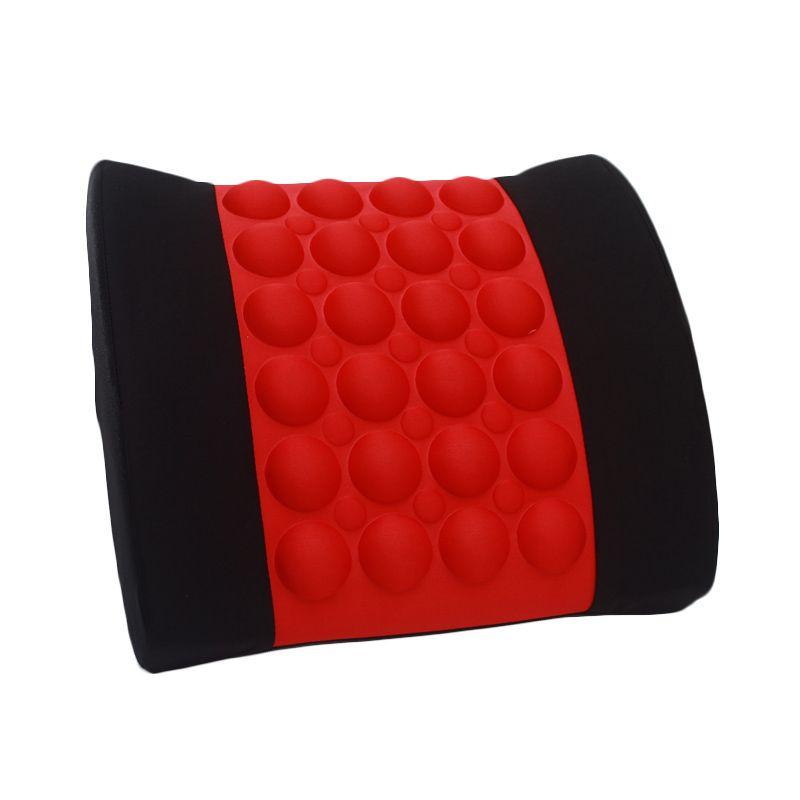 Klikoto Elektrik Merah Hitam Bantal Sandaran Mobil