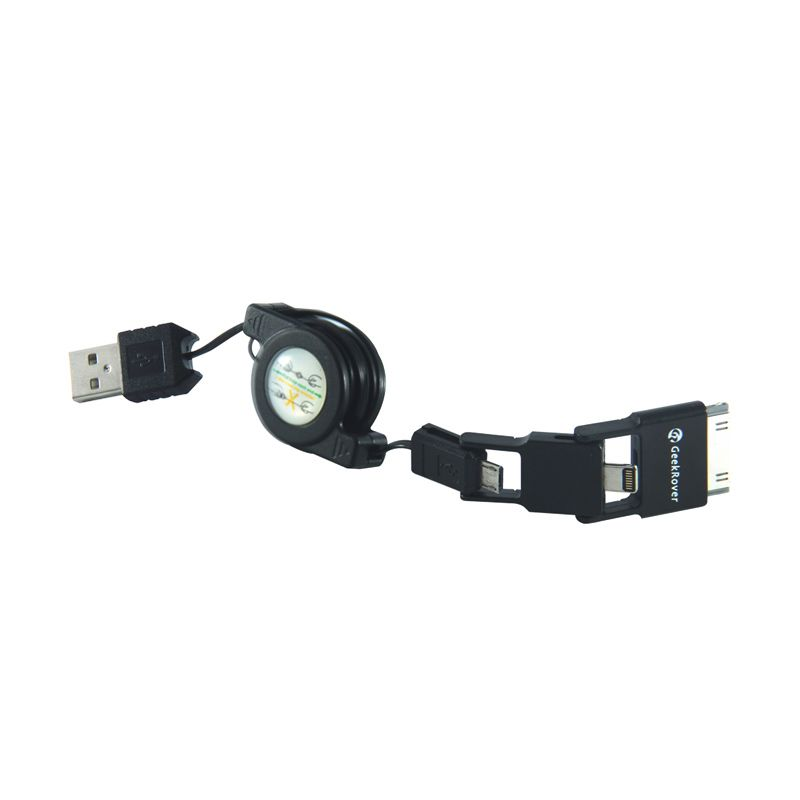 GeekRover 3in1 USB Cable Charger retractable - Hitam