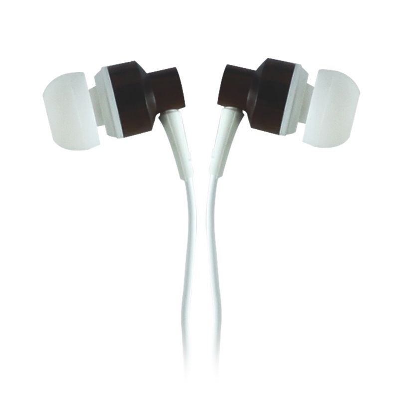 GeekRover Earphone with Mic & Volume Control - White Wooden