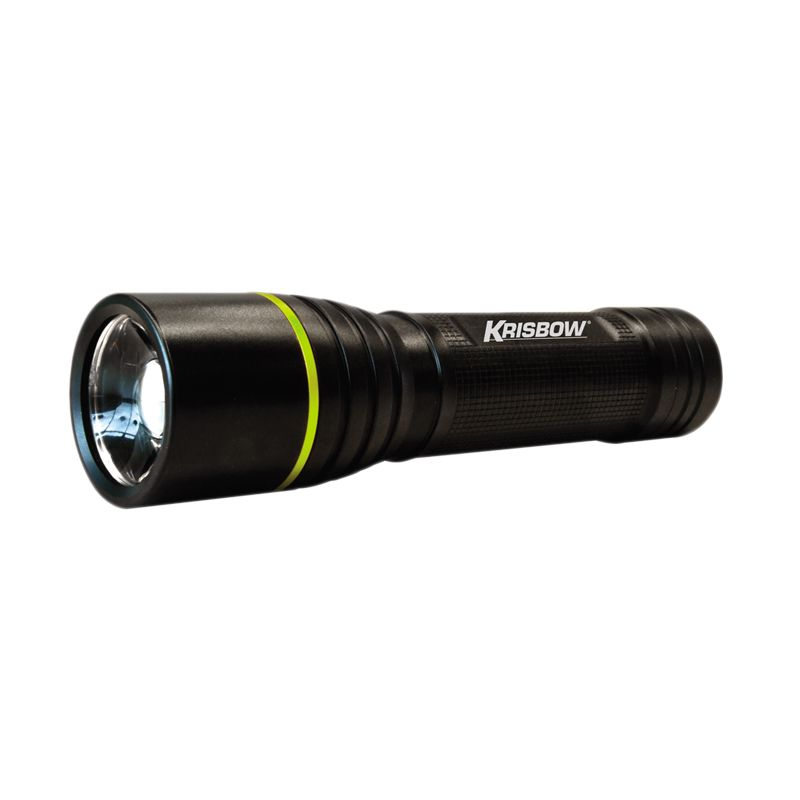 Krisbow LED Flash Light with Focus Hitam Senter [3 W/Battery A3]