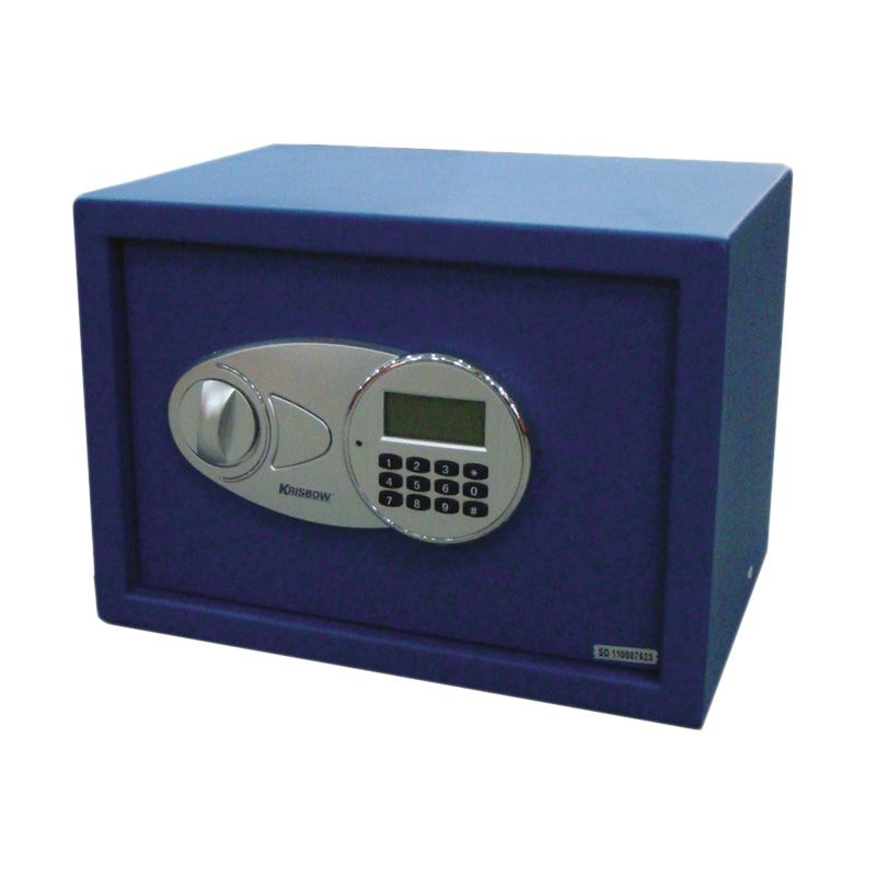 Krisbow Steel Safe LCD Screen Biru Brankas [250 x 350 x 250 mm]