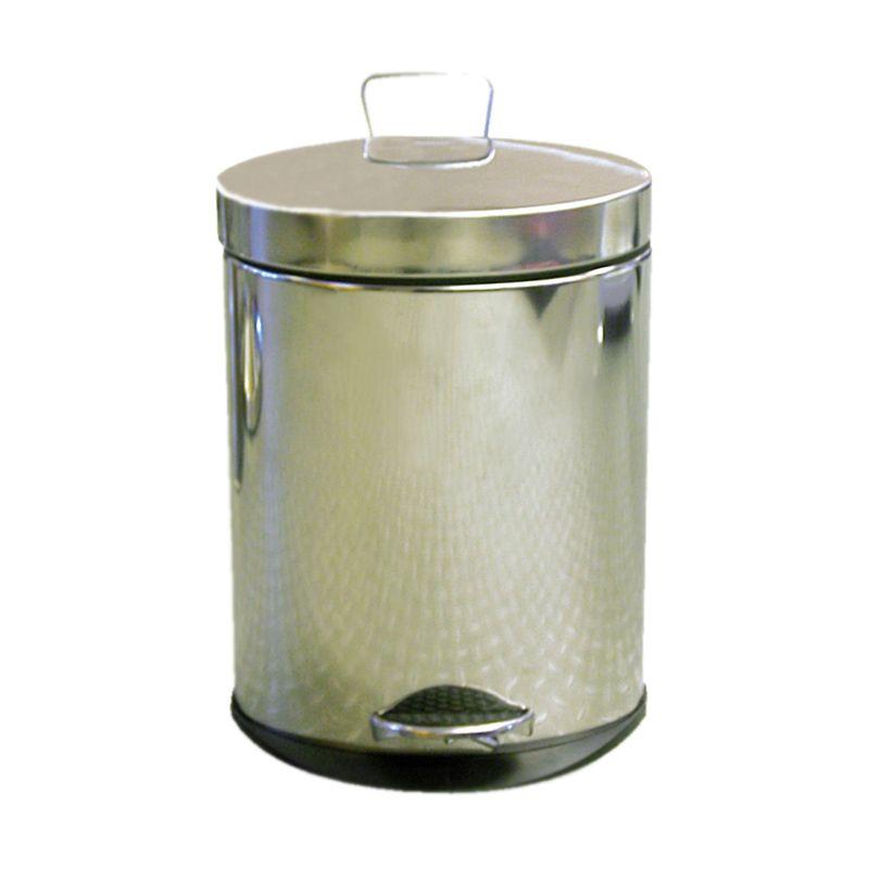 Krisbow Waste Bin Oval Shape Matt with Pedal Silver Tempat Sampah [12 L]