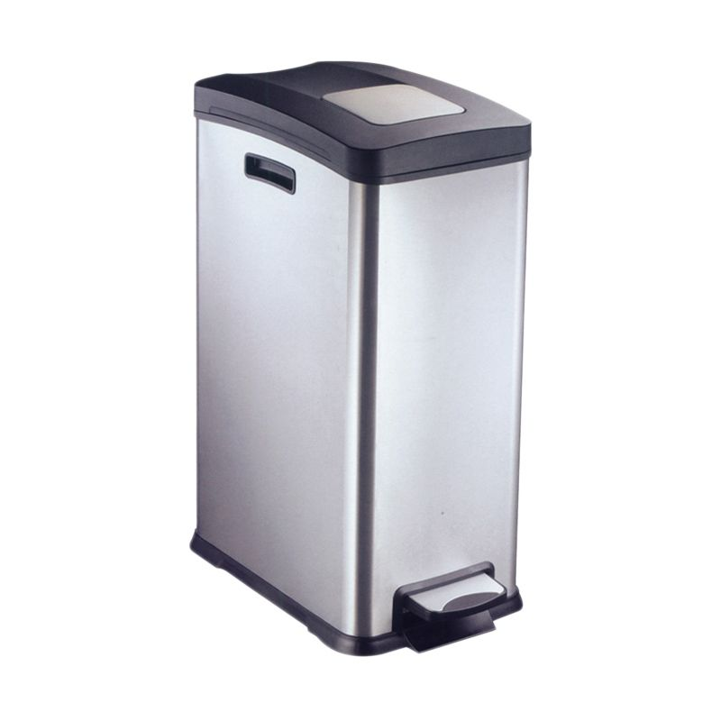 Krisbow Waste Bin Rectangle Matt With Pedal Silver Tempat Sampah [30 L]