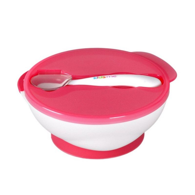 Kidsme Suction Bowl with Ideal Temperature Spoon Set Pink