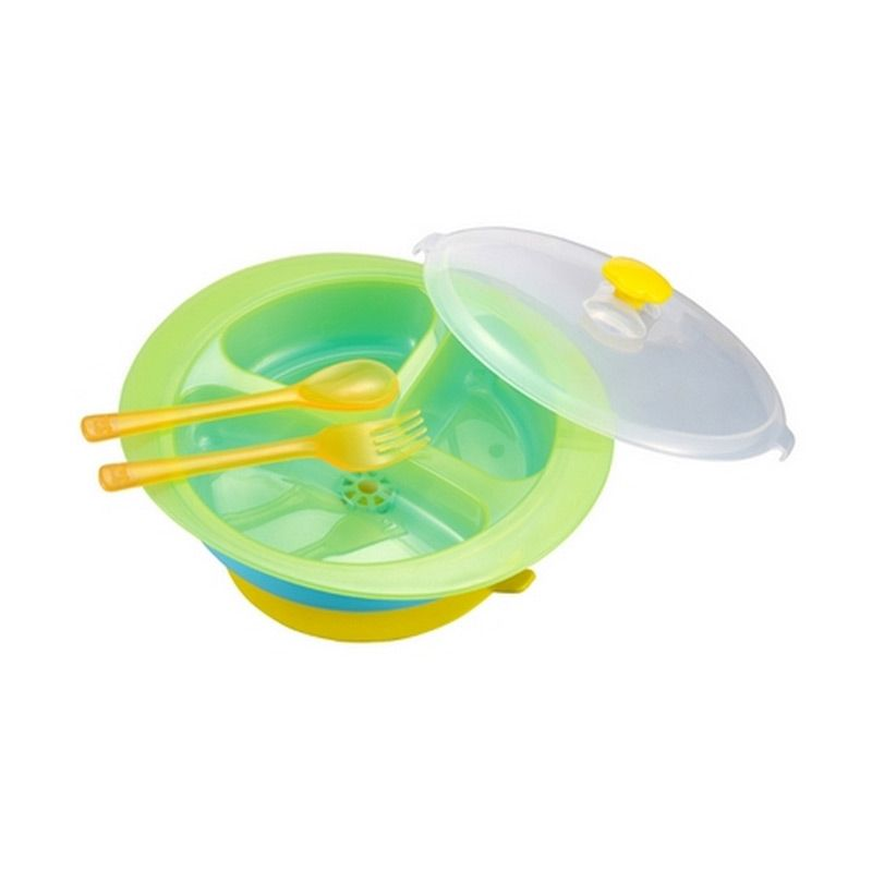 Kidsme Warming Bowl, Fork & Spoon with Cover Set