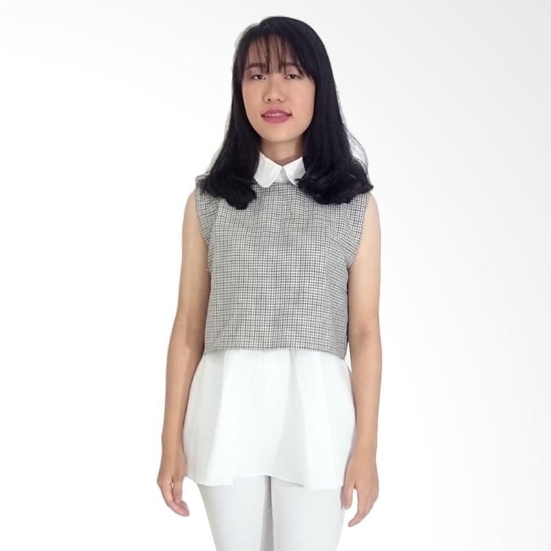 Kulo Collar Plaid Peplum Top Atasan Wanita