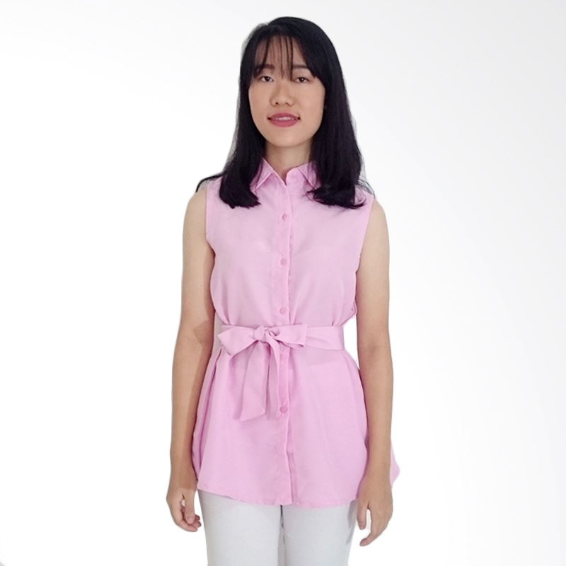 KULO Pastel Sleeveless Tied Top Blouse - Pink