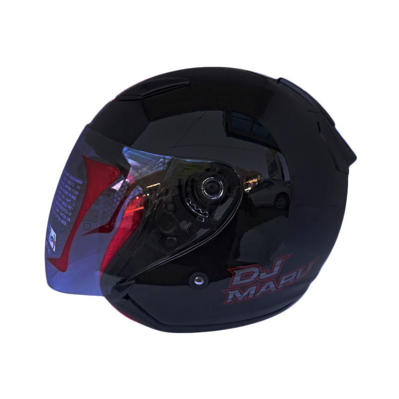 KYT DJ Maru Helm Half Face Black Metalik