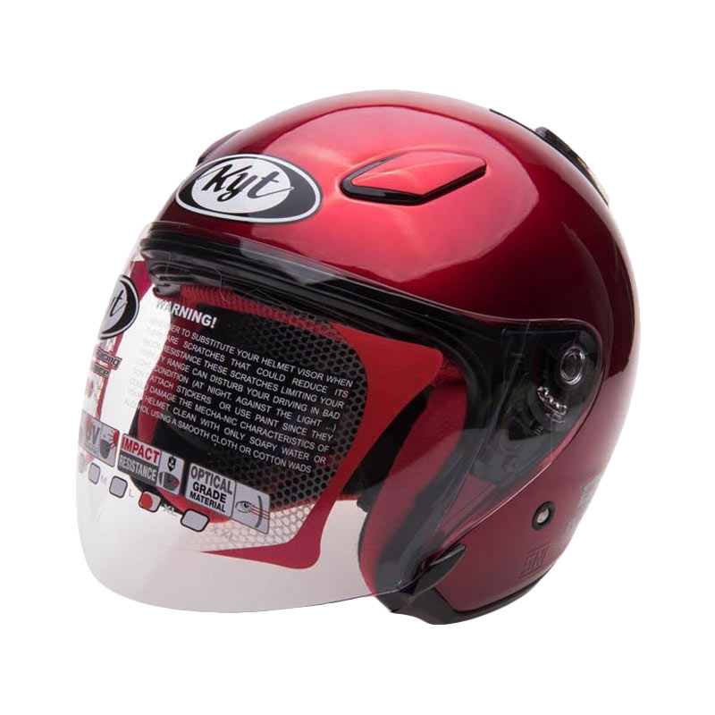 KYT Dj Maru Solid Helm Half Face Red Maroon