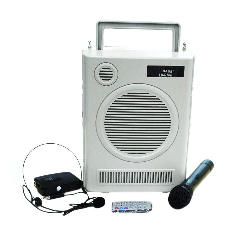 harga LA BASS LB610B Portable wireless PA Amplifier Portable Speaker - Abu-abu Blibli.com