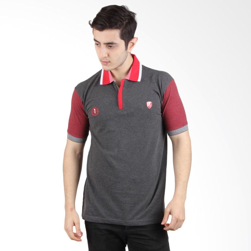 Labette Polo Shirt Dark Grey With Red Sleeve 103430619