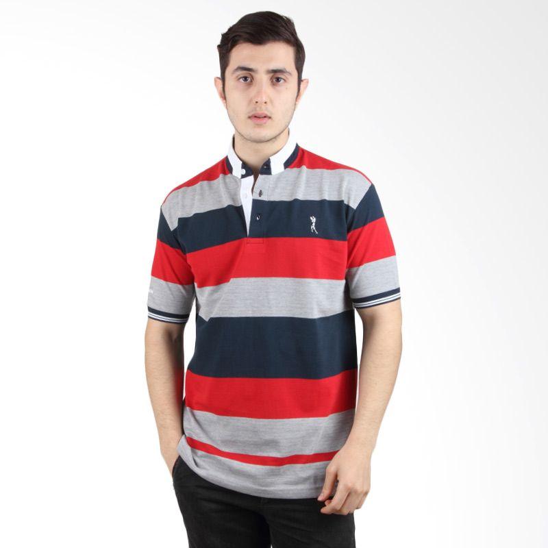 Labette Polo Shirt Grey Stripe Red 103361312
