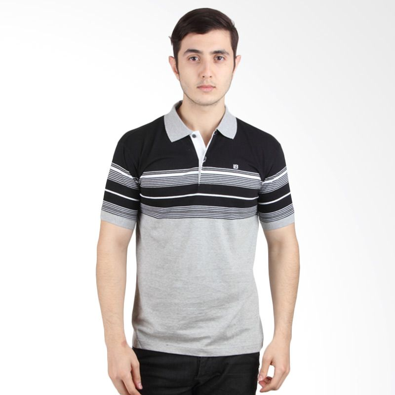 Labette Polo Shirt Light Grey Stripe Black 103421109