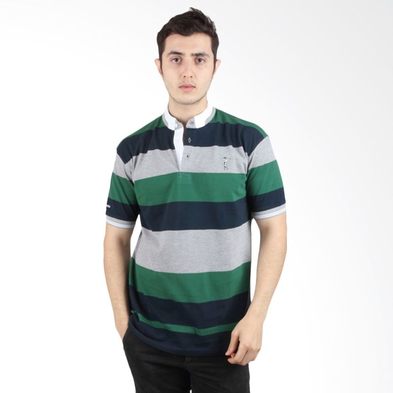 Labette Polo Shirt Stripe Dark Green 103431209