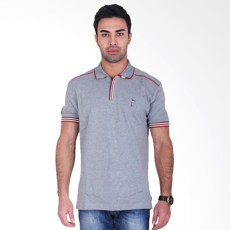 Labette Polo Shirts Grey Stripe Red