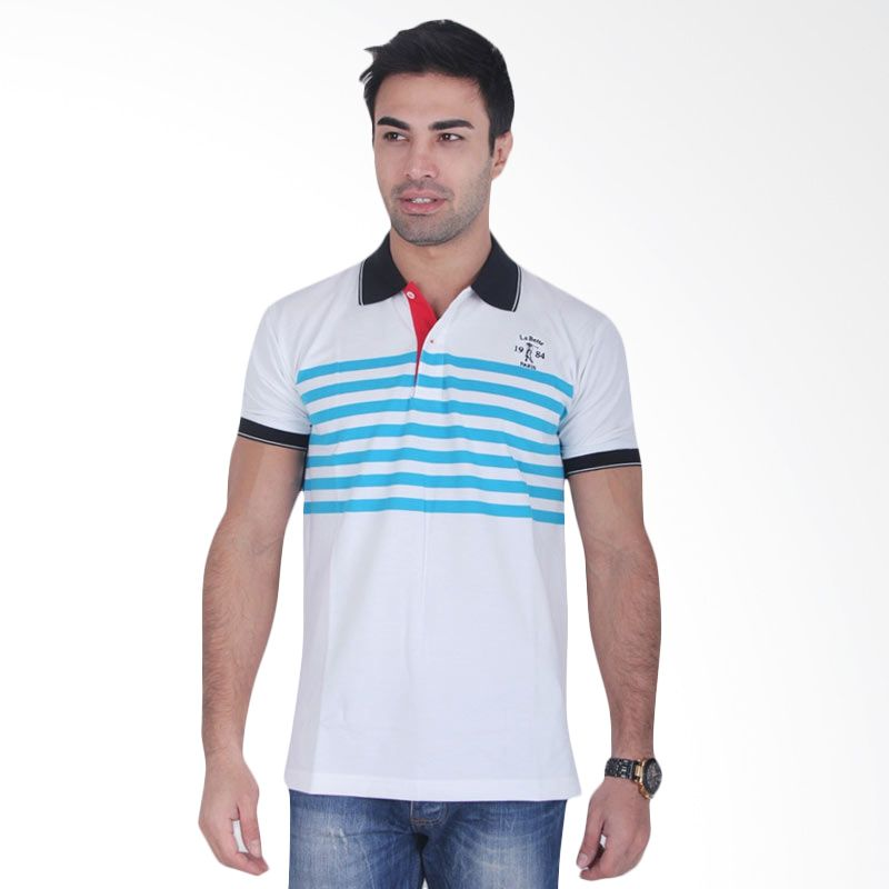 Labette Polo Shirts White Stripes Light Blue