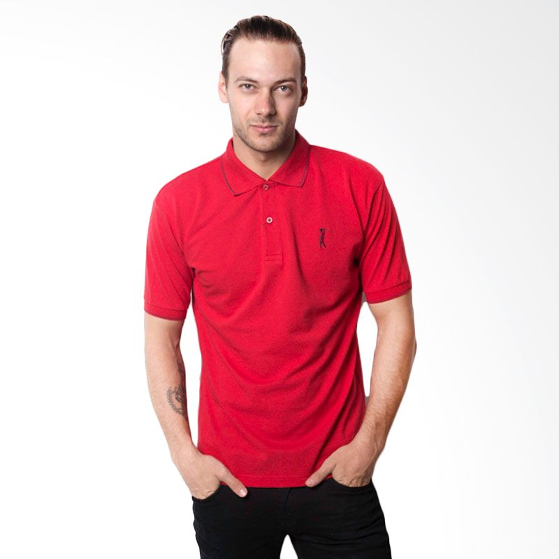 La Bette Polo Sport Solid Red Kaos Polo Pria