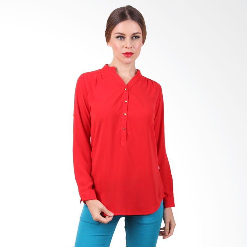The B Club Blouse Red