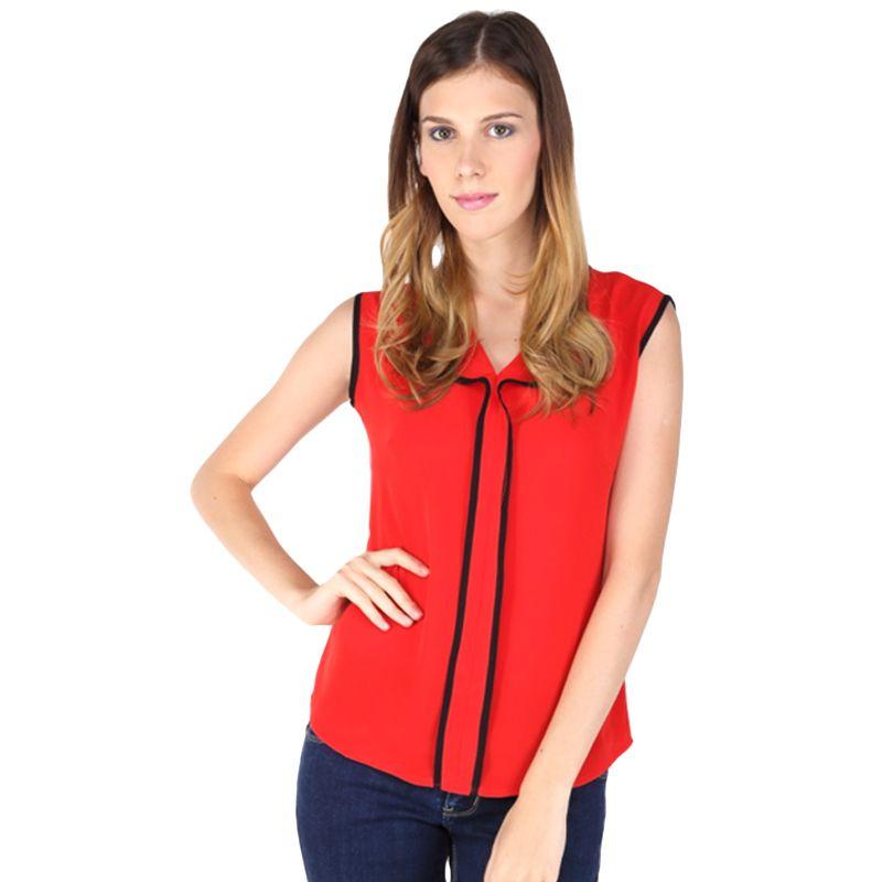 The B Club Blouse Sleeveless 312461707 Red Atasan Wanita